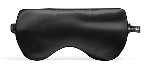 ASUTRA Silk Eye Pillow for Sleep, Black   Filled w/Lavender & Flax Seeds   Weighted   Meditation & Light Blocking Blindfold