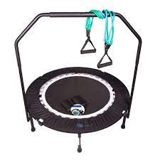 MaXimus PRO Folding Rebounder   Voted #1 Indoor Exercise Mini Trampoline For Adults With Bar   Best Home Gym for Fitness & Lose Weight  FREE Storage Bag, Resistance Bands, ONLINE & DVD Workouts   Already Assembled