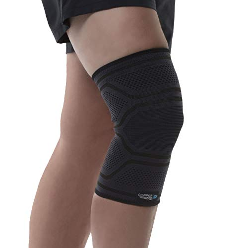 Copper Fit ICE Knit Compression Knee Sleeve Infused with Menthol and CoQ10 for Recovery, Black, Large/X-Large