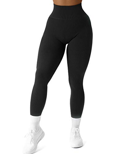 SUUKSESS Women Ribbed Seamless Leggings High Waisted Tummy Control Workout Yoga Pants (Black, L)
