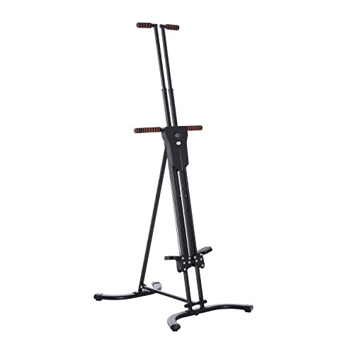 Soozier Steel Folding Height Adjustable Vertical Stair Climber Exercise Machine with Display Monitor - Black