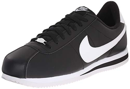 Nike Mens Cortez Basic Leather Black/White/Metallic Silver Casual Shoe 10.5