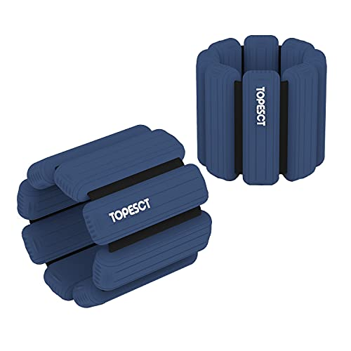 TopEsct Adjustable Wrist Weights - Set of 2 (1lb Each)   Durable Wearable Wrist & Ankle Weights Bracelet for Yoga, Dance, Barre, Pilates, Cardio, Aerobics, Walking (Dark Blue)