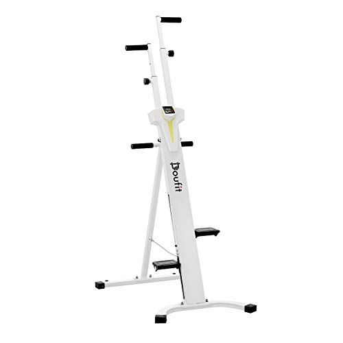 Vertical Climber Exercise Machine, Doufit CM-01 Heavy Duty Folding Climbing Machine for Home Workout, Fitness Stair Climber with LCD Monitor (Max Capacity 220Lbs) (Silver)