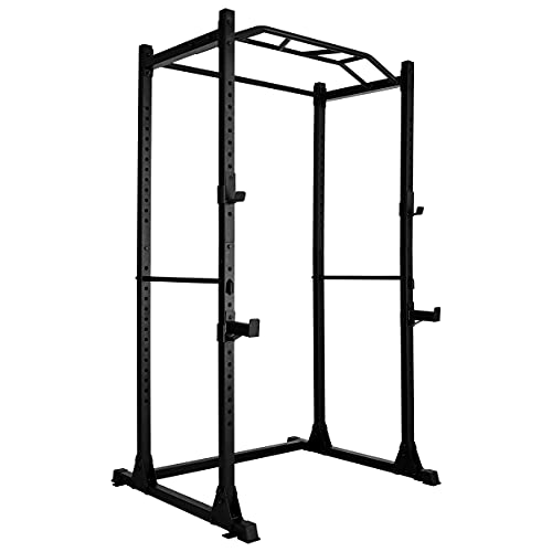 Power Rack Power Cage Workout Station Home Gym for Weightlifting Bodybuilding and Strength Training (1200lb Capacity with 2 Extra J-Hooks)