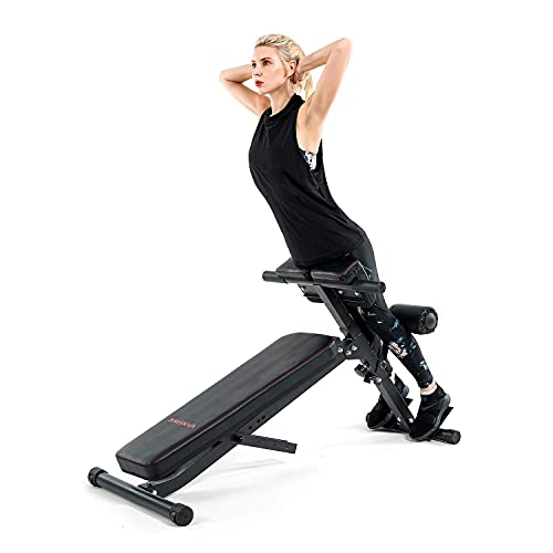 Vanswe Adjustable Ab Bench Multi-Functional Weight Bench for Full Body Workout All-in-One with Hyper Back Extension Machine Sit up Bench Roman Chair Flat Bench Decline Bench for Commercial Home Gym