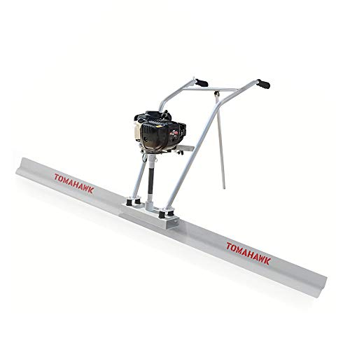 TOMAHAWK 37.7cc Gas Concrete Power Screed Cement Finishing Vibrating Motor with 8ft Aluminum Board Straight Edge Bar Set