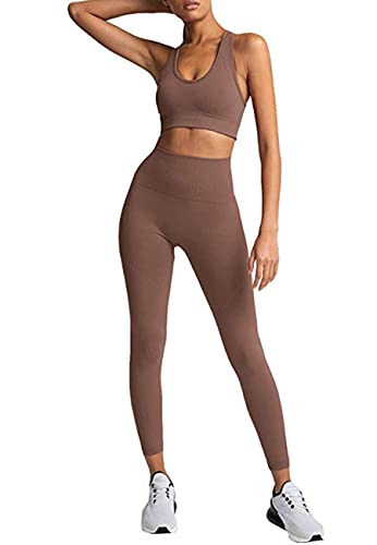HAODIAN Women's Yoga Outfits 2 Piece High Waisted Leggings with Sports Bra Gym Clothes Sets(Brick Red,S)