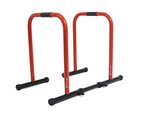 ProsourceFit Dip Stand Station, Heavy Duty Ultimate Body Press Bar with Safety Connector for Tricep Dips, Pull-Ups, Push-Ups, L-Sits, Black, ProSource ps-1064-ds-black Dip Station Black