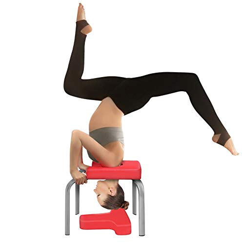 Liusin Yoga Headstand Bench, Balanced Body Yoga Inversion Chair Practice Head Stand, Shoulderstand, Handstand for Family Workout Fitness and Gym (Red)