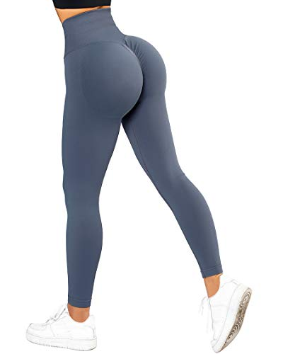 SUUKSESS Scrunch Butt Lifting Seamless Leggings for Women Booty High Waisted Workout Yoga Pants (Blue, S)