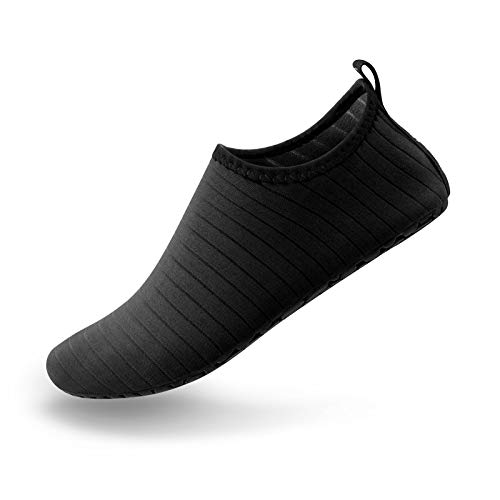 SIMARI Unisex Water Sports Shoes Barefoot Slip-on Indoor Outdoor Sports Activities SWS001 Stripe Black 10-11