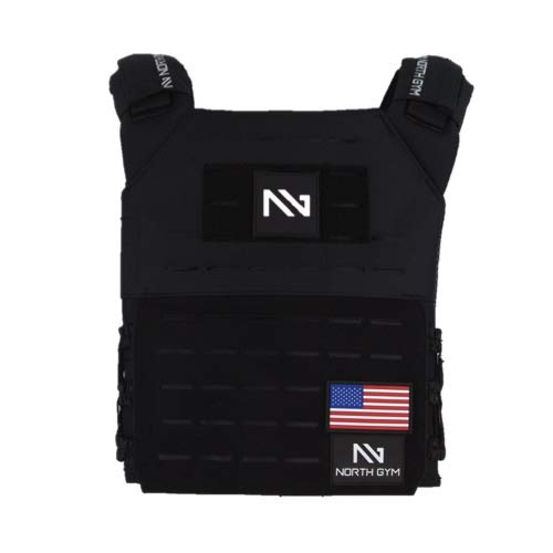 Northgym Adjustable Fitted 20lbs Weighted Vest for Men and Women/Perfect for Endurance & Strength Training and WODs in Black / 2 Moulded 8.75lbs Weight Plates Included