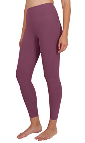 90 Degree By Reflex Ankle Length High Waist Power Flex Leggings - 7/8 Tummy Control Yoga Pants - Vintage Magenta - XS