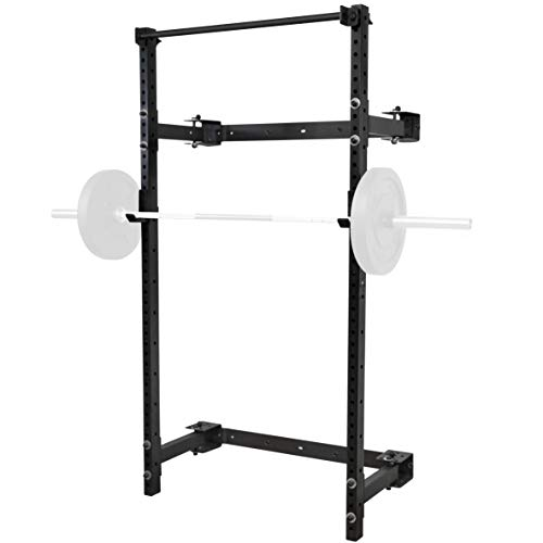 PRx Performance Murphy Rack Fold in Squat Rack, Wall Mounted Folding Power Stand, Weight Lifting Adjustable Pull Up Bar, Heavy Duty J-Cups, Space Saving Home Gym Equipment