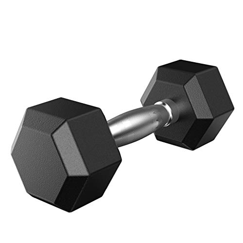salaheiyodd Rubber Hex Dumbbell Pair/Single Barbell Heavy Dumbbells with Metal Handles for Strength Training (Single 50LBS)