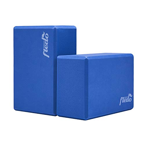 Fledo Yoga Blocks 2 Pack 9'x6'x4' - EVA Foam Brick, Featherweight and Comfy - Provides Stability and Balance - Ideal for Exercise, Pilates, Workout, Fitness & Gym (Grey)