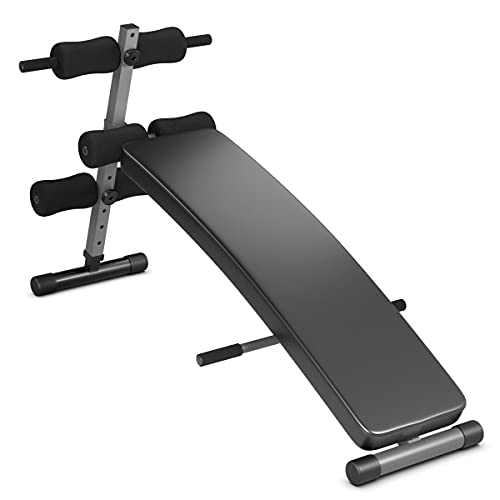 Sporfit Sit up Bench Adjustable, Strength Training Bench for Full Body, Utility Workout Equipment for Home Gym, Foldable Slant Board BLACK