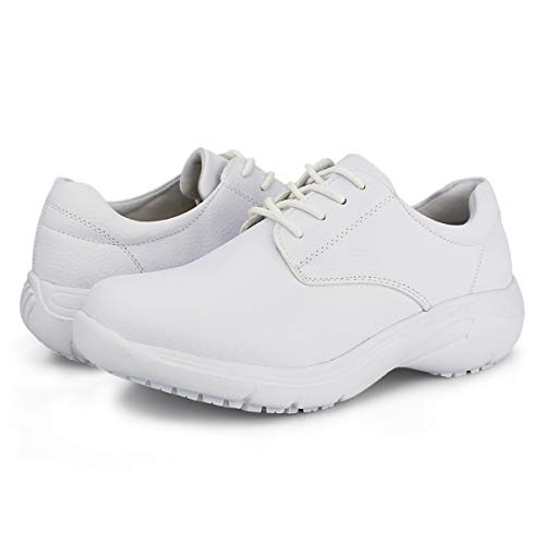 Hawkwell Women's Lace Up Nursing Shoes Comfortable Work Shoes,White PU,8 M US
