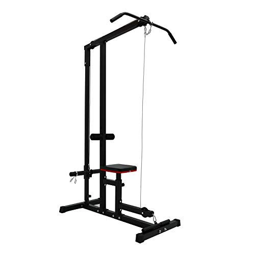 KINGC Home Heavy Duty LAT Pulldown and Low Row Cable Machine,Fitness Equipment with High and Low Pulley Stations and Seat to Exercise Arm Strength Black
