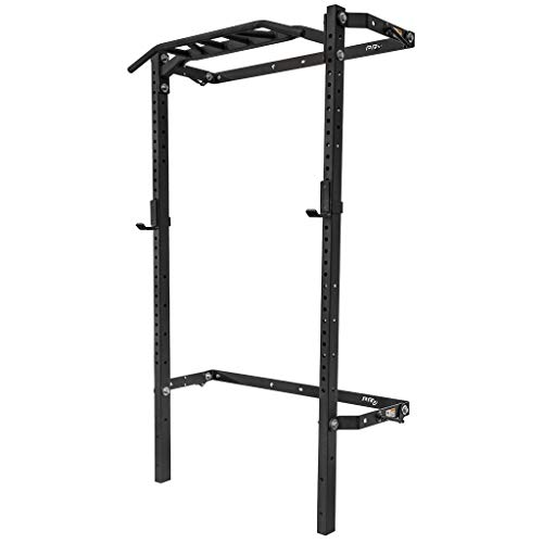 PRx Performance Profile Squat Rack 2'x3' with Kipping or Pull Up Bar, Wall Mounted Home Gym Folding Fitness Equipment Power Rack, Shark Tank Company (Black Onyx with Multi-Grip Bar, 90')