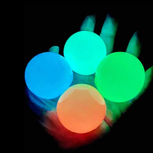 4 Pcs Luminescent Stress Relief Balls Sticky Ball, Stick to The Wall and Slowly Fall Off, Squishy Glow Stress Relief Toys for Kids and Adults Tear-Resistant, Non-Toxic, Fun Toy for ADHD, OCD, Anxiety
