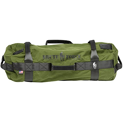 Brute Force Athlete Sandbag Training Kit - Green - Adjustable Workout Equipment for Home Gym and Cross Training - 25-75 pounds - Made in The USA