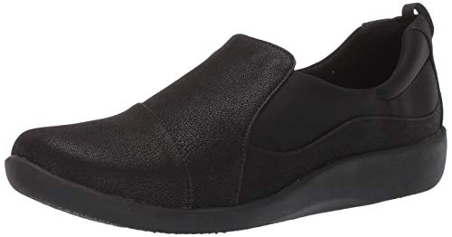 Clarks womens Sillian Paz Slip On Loafer, Black Synthetic Nubuck, 8.5 Wide US