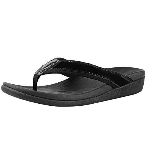 Comfortable Orthopeic Flip Flops for Women, Best Plantar Fasciitis Sandals for Flat Feet with Arch Support, Thong Sandals for Walking/Beach... Black Size 8
