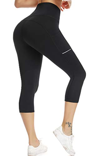 Olacia Womens High Waisted Leggings with Pockets Yoga Pants Workout Leggings Athletic Capris Tummy Control Running Pants,Black,X-Small