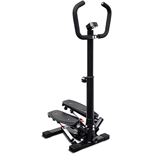 Deco Home Exercise Step Machine w/Adjustable Stability Handle Bars, Non-Slip Pedals, and LCD Tracking Display, Low-Impact Fitness Equipment for Homes, Apartments, Dorms, and More