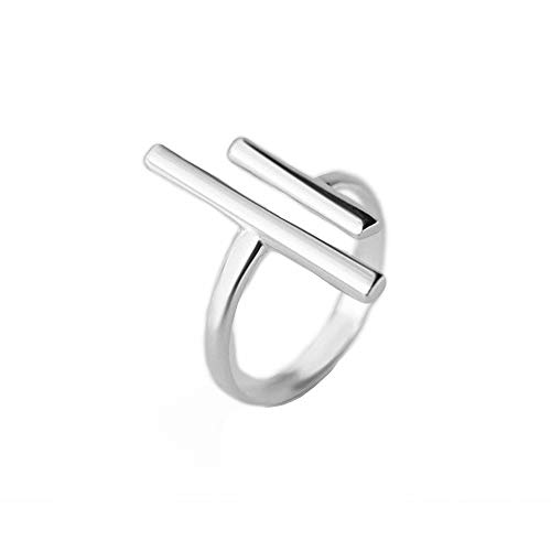 Double T Parallel Bar Minimalist 925 Sterling Silver Engagement Open Ring Dainty Adjustable Simple Statement Finger Promise Eternity Rings Band Jewelry Gifts for Women Teen Girls Girlfriend Her