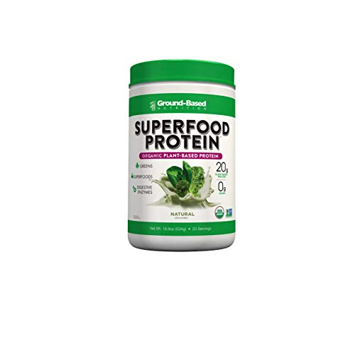 Ground-Based Nutrition Certified Organic Superfood Protein, 100% Plant-Based Protein with Alkalizing Greens, Superfoods and Digestive Enzymes, Helps Build Muscle, Natural Unflavored, Vegan, 20 svgs