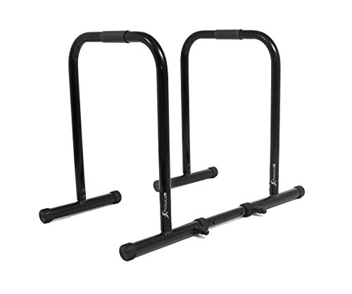ProsourceFit Dip Stand Station, Heavy Duty Ultimate Body Press Bar with Safety Connector for Tricep Dips, Pull-Ups, Push-Ups, L-Sits, Black (Renewed)