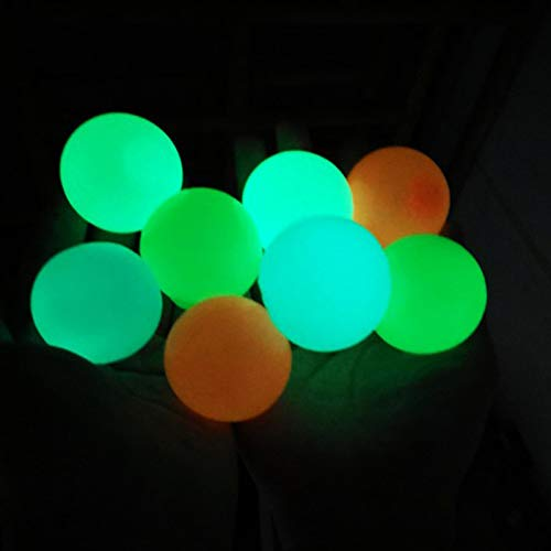 8 Pcs Sticky Wall Balls, Glowing Ceiling Balls Stress Relief Balls, Stick to The Wall and Slowly Fall Off, Tear-Resistant Decompression Toys for ADHD OCD Anxiety