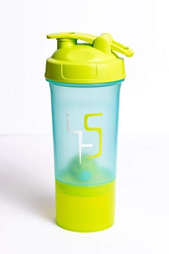 X-MIX Shaker Bottle, Protein Blender for Athletes, Leak Proof Lid Mixer Cup, Turquoise/Green Protein Shake, Water Bottle, 500 ml / 20 oz with 150 ml / 6 oz Storage for Protein Powder & Gym Supplements
