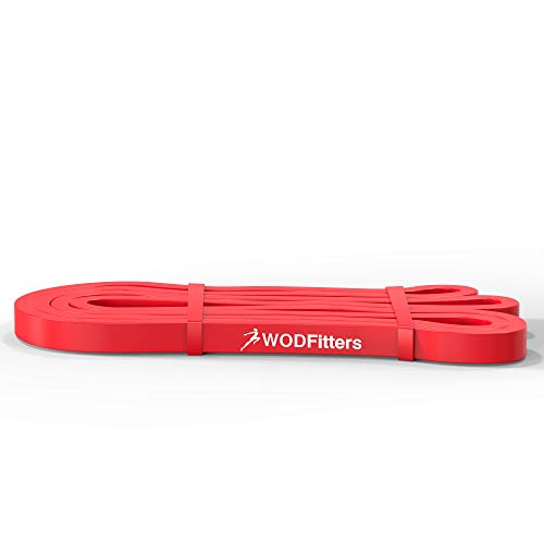 WODFitters Stretch Resistance Pull Up Assist Band with eGuide, #1 Red- 10 to 35 Pounds (1/2 '4.5mm)