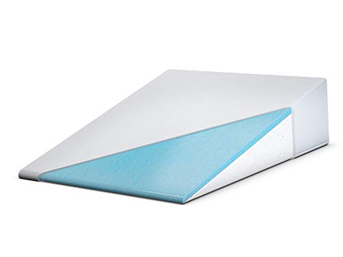 FitPlus Bed Wedge, Premium Cool Gel Infused Memory Foam Wedge Plus 2 Year Warranty, Acid Reflux Pillow with Removable Cover Dr Recommended for Snoring and Gerd