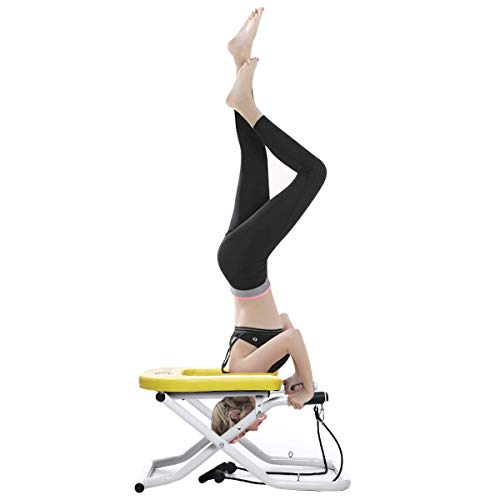 Doufit Headstand Bench Yoga with Handles, IT-02 Folding Inversion Stool for Head Stand Exercise, Headstand Chair for Workout at Home with Resistance Bands