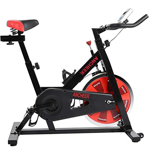 ANCHEER Stationary Bike, 40 LBS Flywheel Belt Drive Indoor Cycling Exercise Bike with Pulse , Elbow Tray (Model: ANCHEER-A5001) (Black_Red)