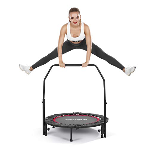 MaxKare Trampoline Rebounder Trampoline Kid Fitness Exercise Trampoline for Adults Mini Outdoor Indoor Heavy Duty Folding with Adjustable Foam Handle & Safety Pad 40''Trampoline