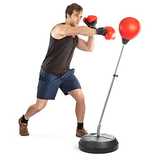 Tech Tools Boxing Ball Set with Punching Bag, Boxing Gloves, Hand Pump & Adjustable Height Stand - Strong Durable Spring Withstands Tough Hits for Stress Relief & Fitness (Adult)
