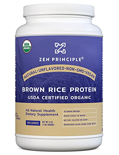 Organic Brown Rice Protein 3 LB. USDA Certified Organic. Unflavored. 25 G. Protein Per Serving. Non-GMO. No Soy, Gluten or Dairy. Natural. Vegan. Ultra-fine Powder Mixes Easily in Drinks.