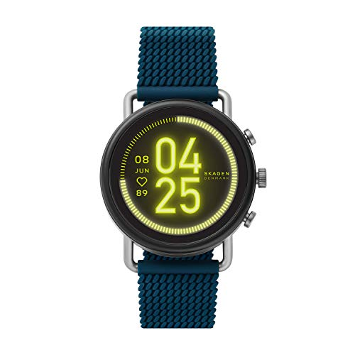 Skagen Connected Falster 3 Gen 5 Stainless Steel and Silicone Touchscreen Smartwatch, Color: Blue (Model: SKT5203)