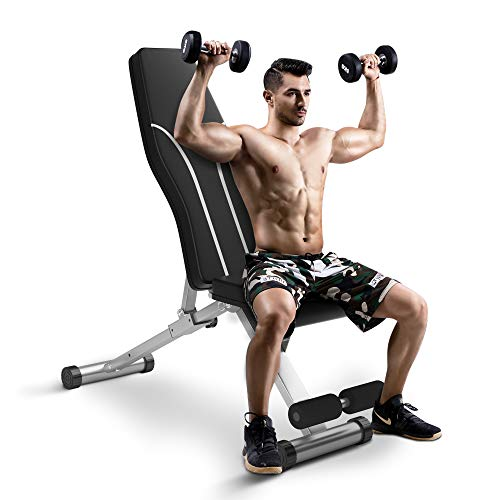 Weight Bench Adjustable Workout Bench for Home Gym Foldable Multi-Purpose Strength Training Benches, Flat/Incline/Decline Exercise Bench Press for Full Body Workout (Grey-white)