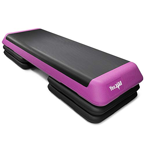 Yes4All Adjustable Aerobic Step Platform with 4 Risers Health Club Size & Extra Risers Options (Pink/Black), X-Large