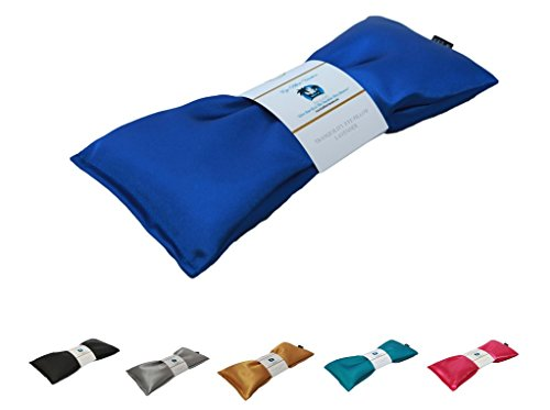 Lavender Eye Pillow - Migraine, Stress & Anxiety Relief - #1 Stress Relief Gifts - Made in USA,! (Sapphire - Ultra Silky Satin)