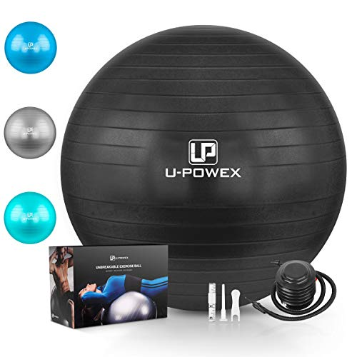 U-POWEX Professional Exercise Ball (45-85cm) - Professional Grade & Anti Burst Exercise Equipment for Home, Gym, Yoga, Balance, Fitness, Core, Desk Chairs - Quick Hand Pump & Workout Guide Black 55