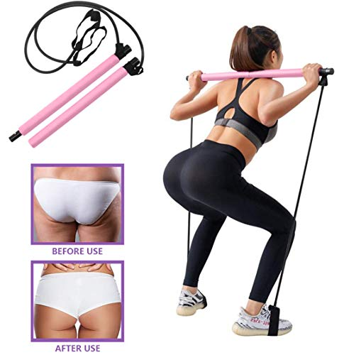 RIFFUE Portable Pilates Bar Kit with Resistance Band Portable Pilates for Total Body Workout Yoga Exercise Pilates with Foot Loop for Yoga, Stretch, Sculpt, Twisting, Sit-Up