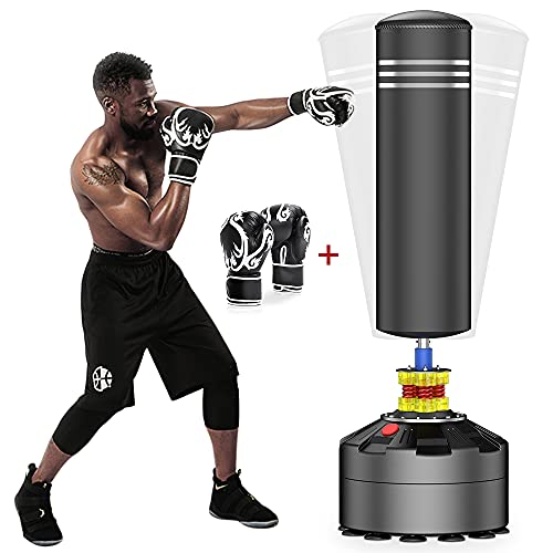 ELEMARA Freestanding Punching Bag with Boxing Gloves and Suction Cup Base for Adult Youth, Black, 69'